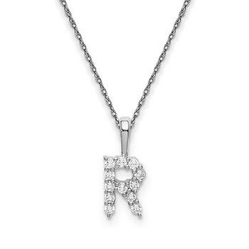"14k white gold initial ""R"" pendant with chain"