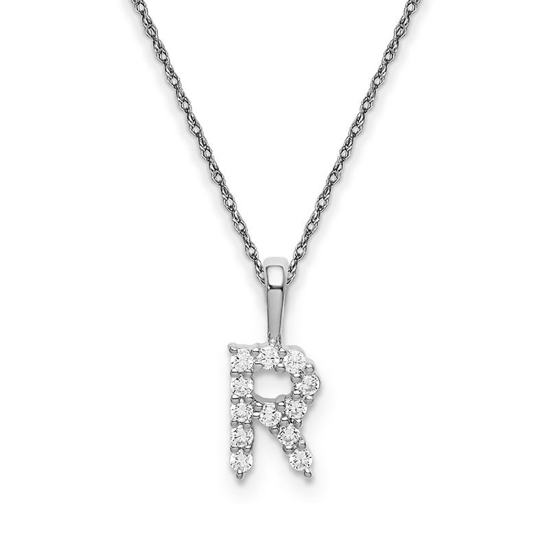 """Greenberg's 14k white gold initial """"R"""" pendant with chain"""