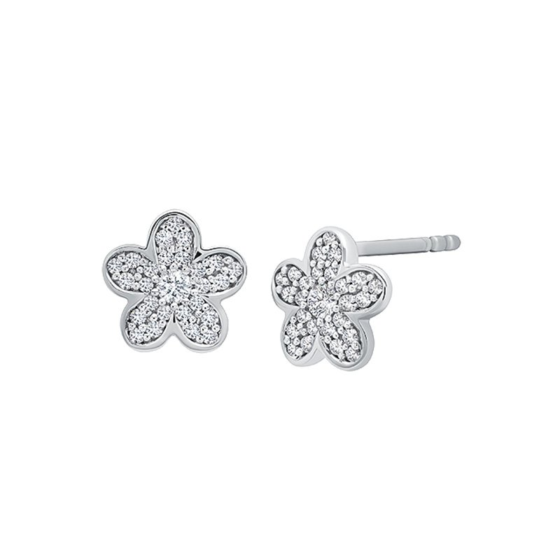 Greenberg's sterling silver diamond flower earrings
