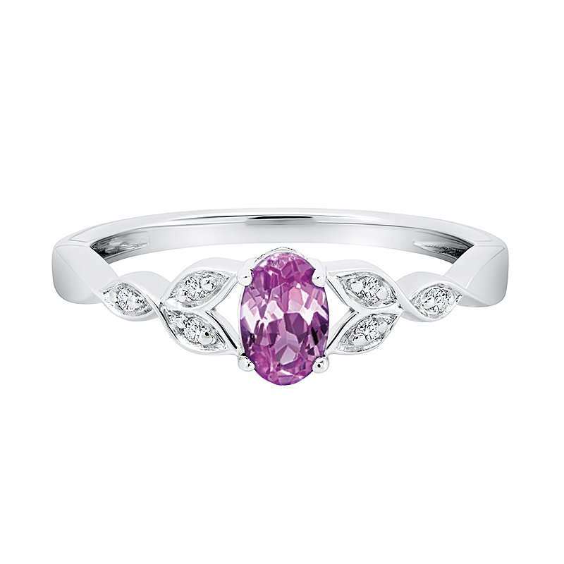 Greenberg's sterling silver created pink sapphire oval diamond ring