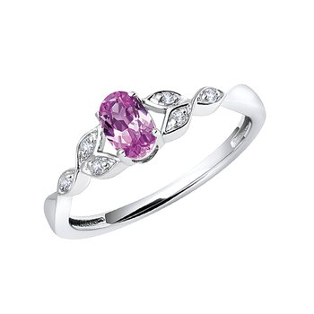 sterling silver created pink sapphire oval diamond ring