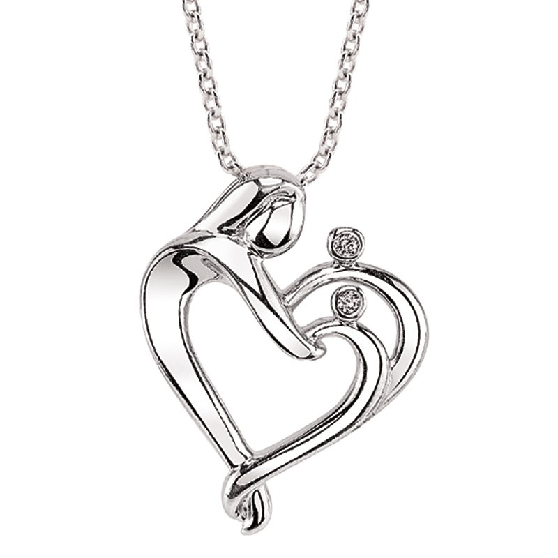 Kissing Hearts Collection sterling silver .02ctw two-diamond family heart pendant