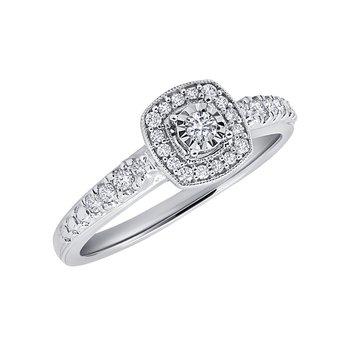10k white gold 1/4ctw diamond round promise ring