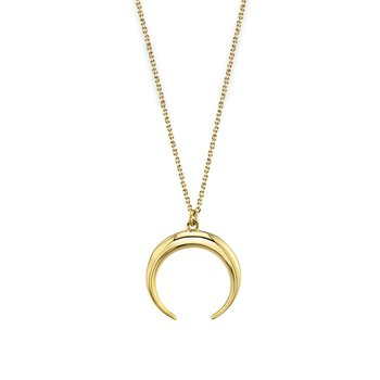 14k yellow gold double horn pendant