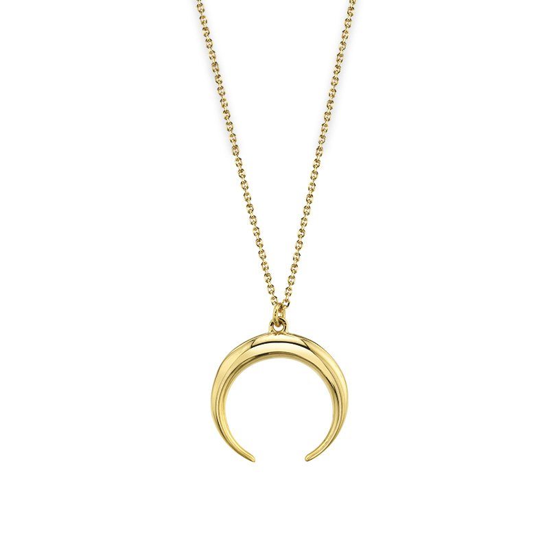 Greenberg's 14k yellow gold double horn pendant