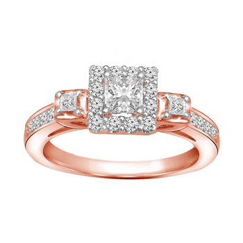10k rose gold 1/3ctw vintage princess cut promise ring