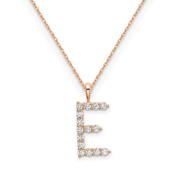 "14k rose gold initial ""E"" pendant with chain"