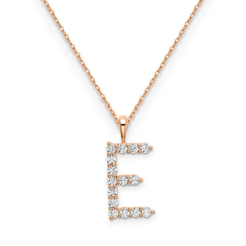 """Greenberg's 14k rose gold initial """"E"""" pendant with chain"""