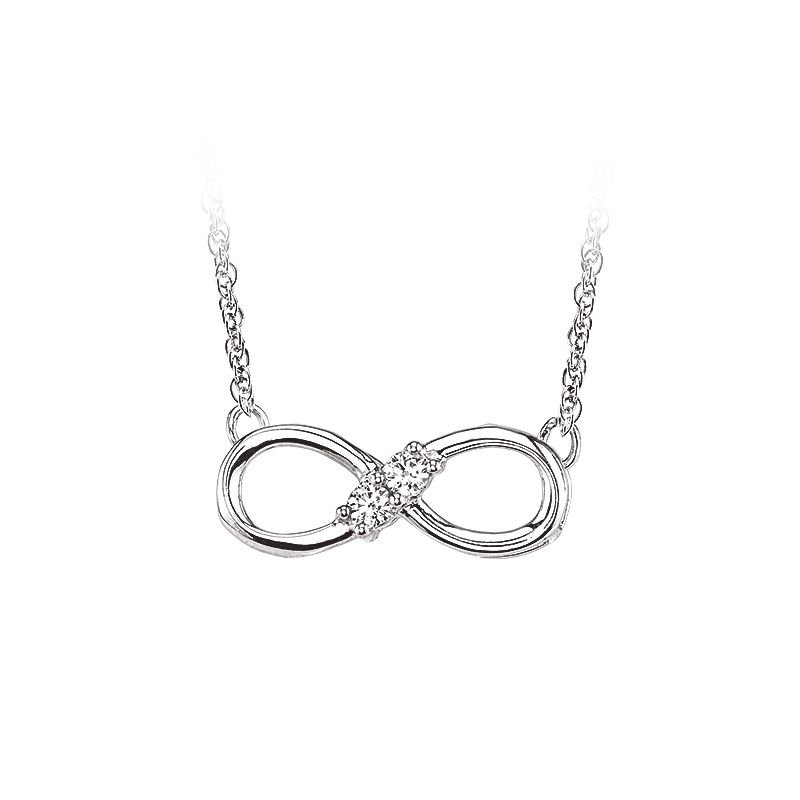 Greenberg's 10k white gold 1/10ctw two-stone infinity necklace