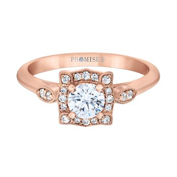 14k rose gold vintage-enspired engagement ring