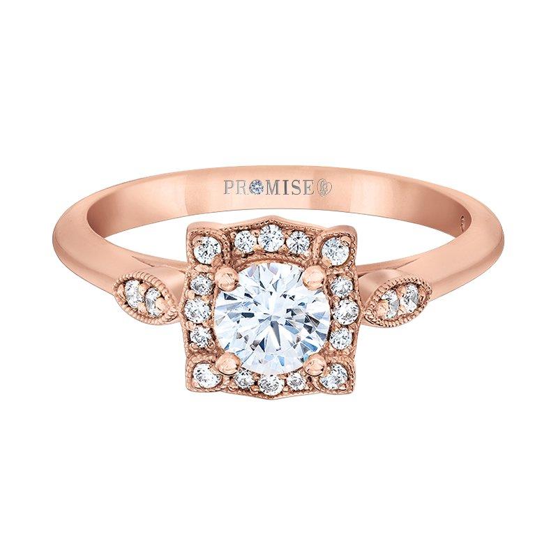 Love Story 14k rose gold vintage-enspired engagement ring