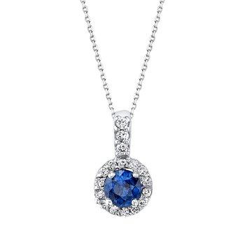 14k white gold sapphire diamond pendant