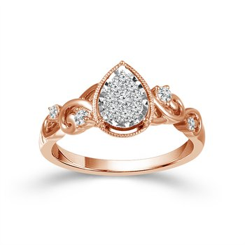 10k white and pink gold diamond pear-shaped cluster promise ring
