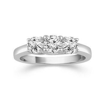 14 karat white gold three stone 1ctw anniversary ring