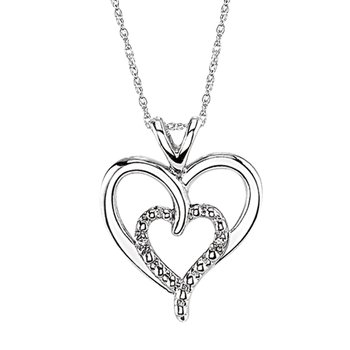 sterling silver diamond two-heart pendant
