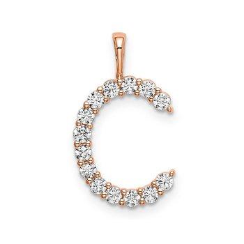 """14k rose gold initial """"C"""" pendant"""