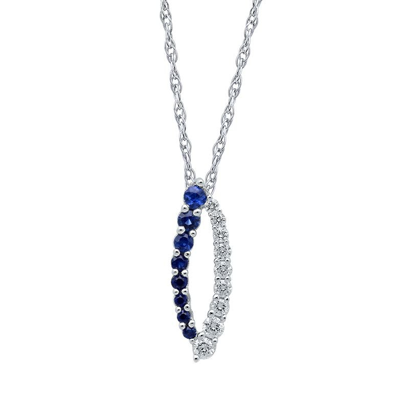 Greenberg's 10k white gold and blue sapphire pendant