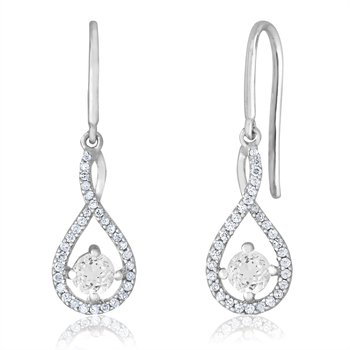 sterling silver and diamond white topaz drop earrings