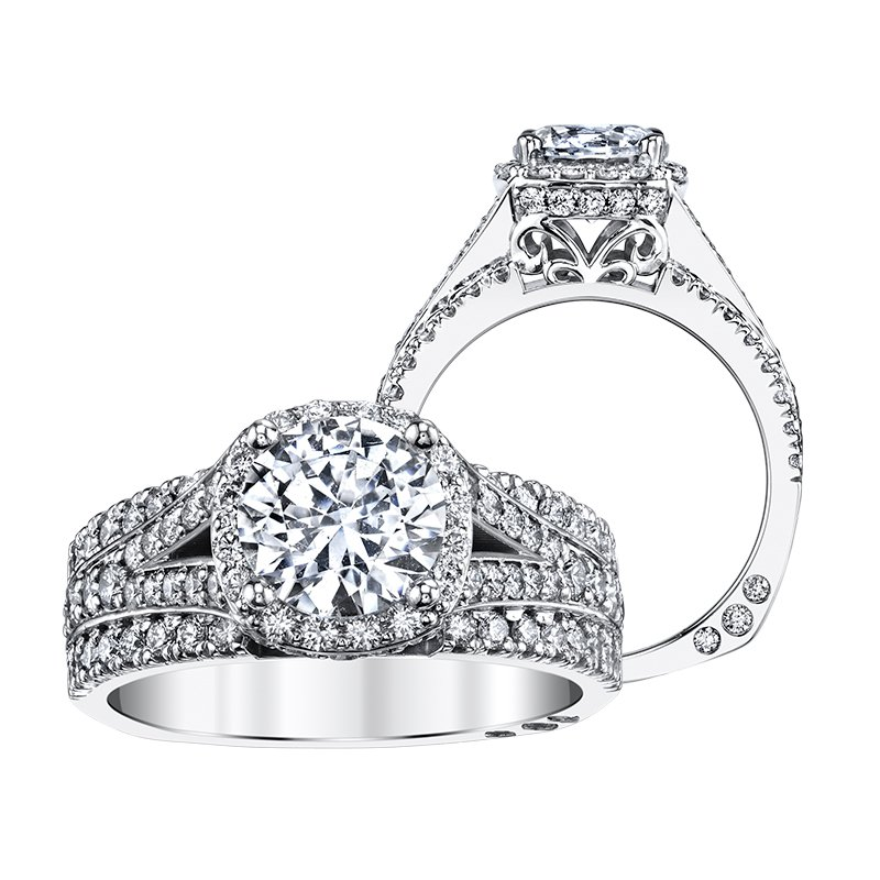 Amy Greenberg Collection 18k white gold 1ctw semi-mount diamond engagement ring