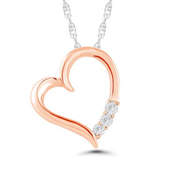 10k rose gold 3-stone heart pendant