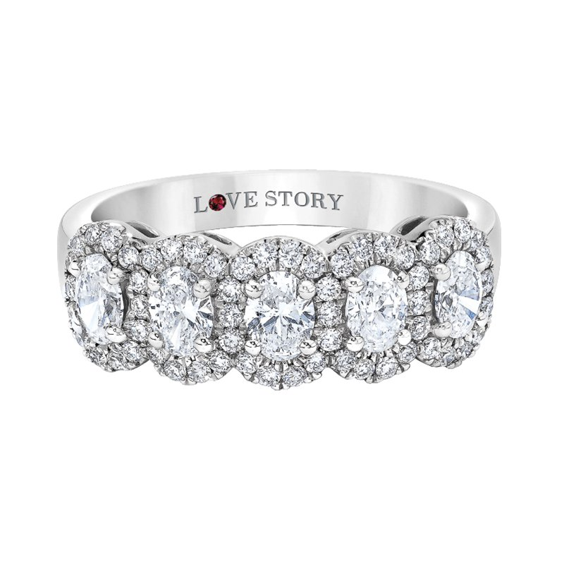 Love Story 14k white gold 1ctw five-oval diamond band
