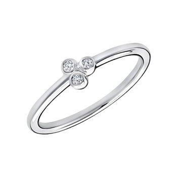 10k white gold .05ctw three-round diamond fashion ring