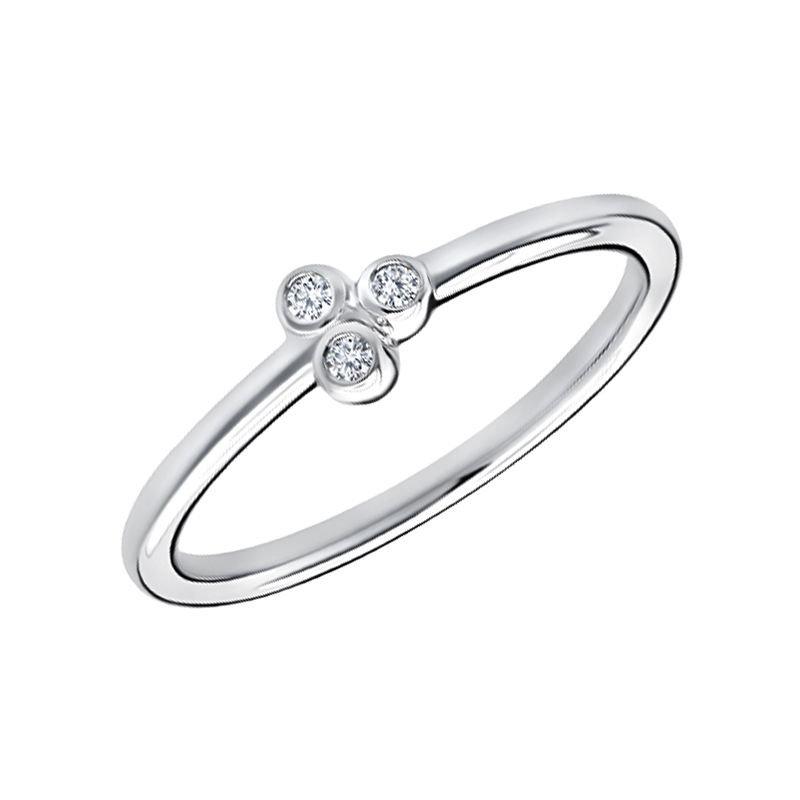 Greenberg's 10k white gold .05ctw three-round diamond fashion ring
