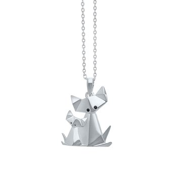sterling silver origami cat with kitten pendant