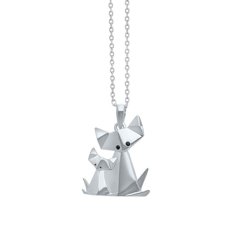 Greenberg's sterling silver origami cat with kitten pendant