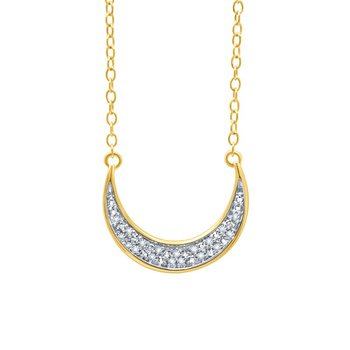 sterling silver and yellow gold plated .05ctw moon pendant