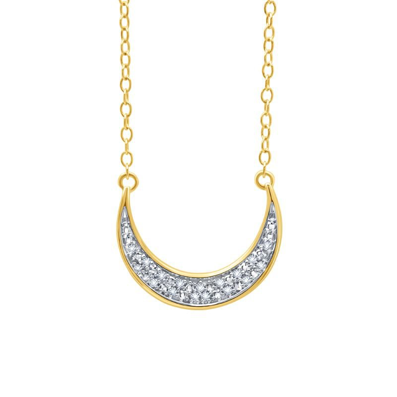 Greenberg's sterling silver and yellow gold plated .05ctw moon pendant