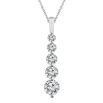 14k white gold 5-stone diamond pendant