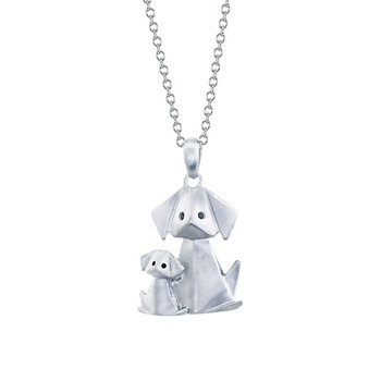 sterling silver origami dog with puppy pendant
