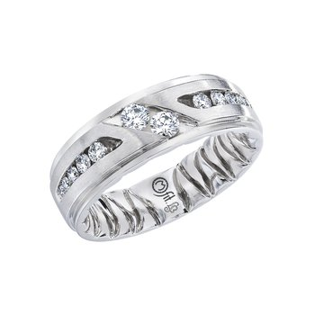 14K White Gold Three Stone Wedding Band