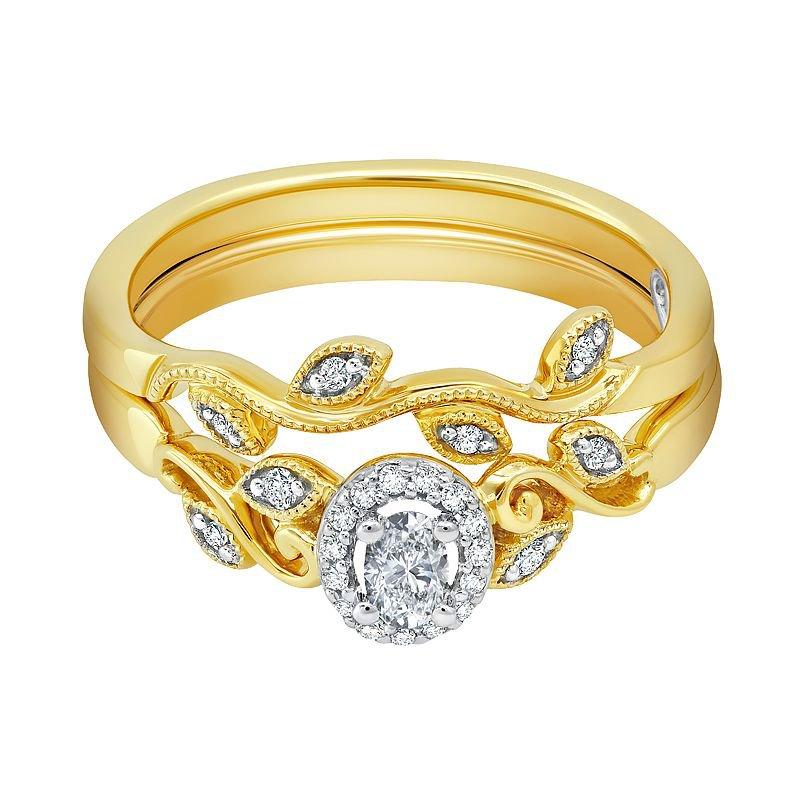 Greenberg's 10k yellow gold 1/4ctw .16 oval diamond bridal set