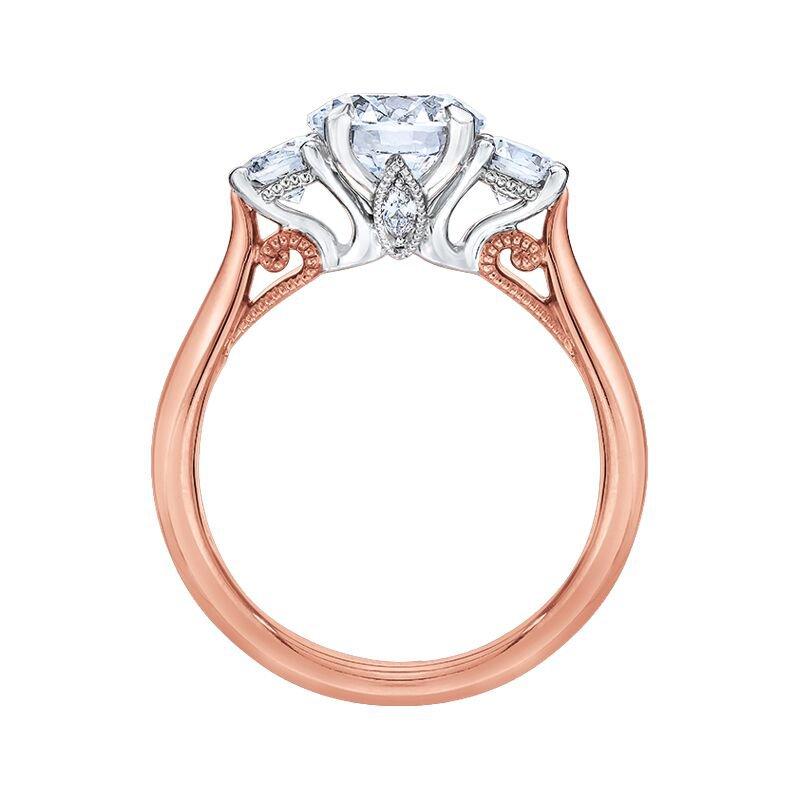 Love Story 14k white and rose gold three-stone anniversary ring