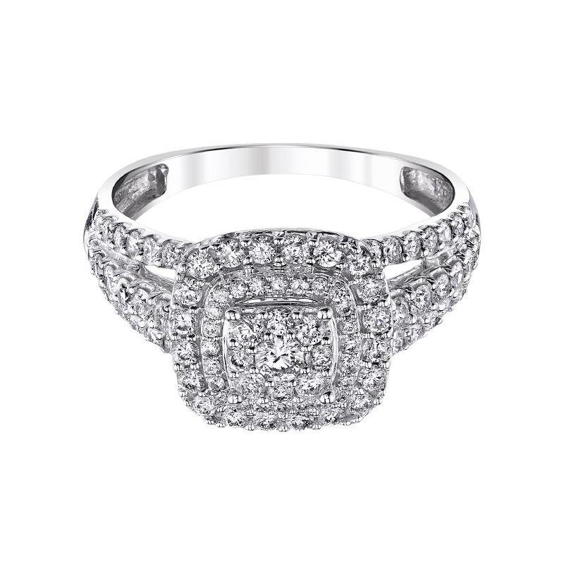 Beautiful Bride 10K WG 1/2ctw Cluster Center Diamond Engagement Ring