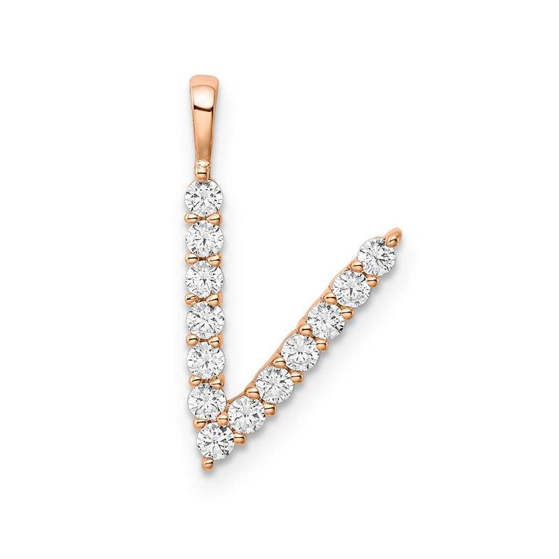 """Greenberg's 14k rose gold initial """"V"""" pendant"""