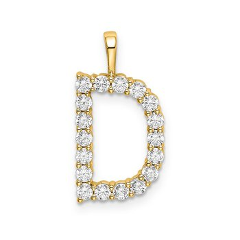 "14k yellow gold initial ""D"" pendant"