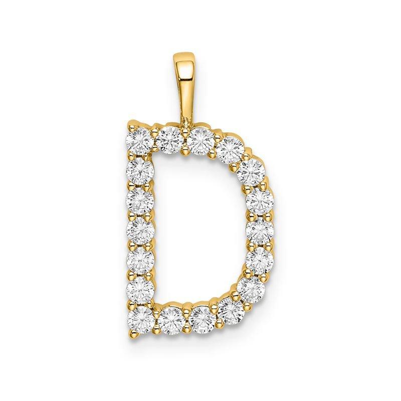 "Greenberg's 14k yellow gold initial ""D"" pendant"