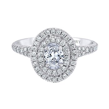 14k white gold 1ctw 1/2ct oval diamond halo engagement ring