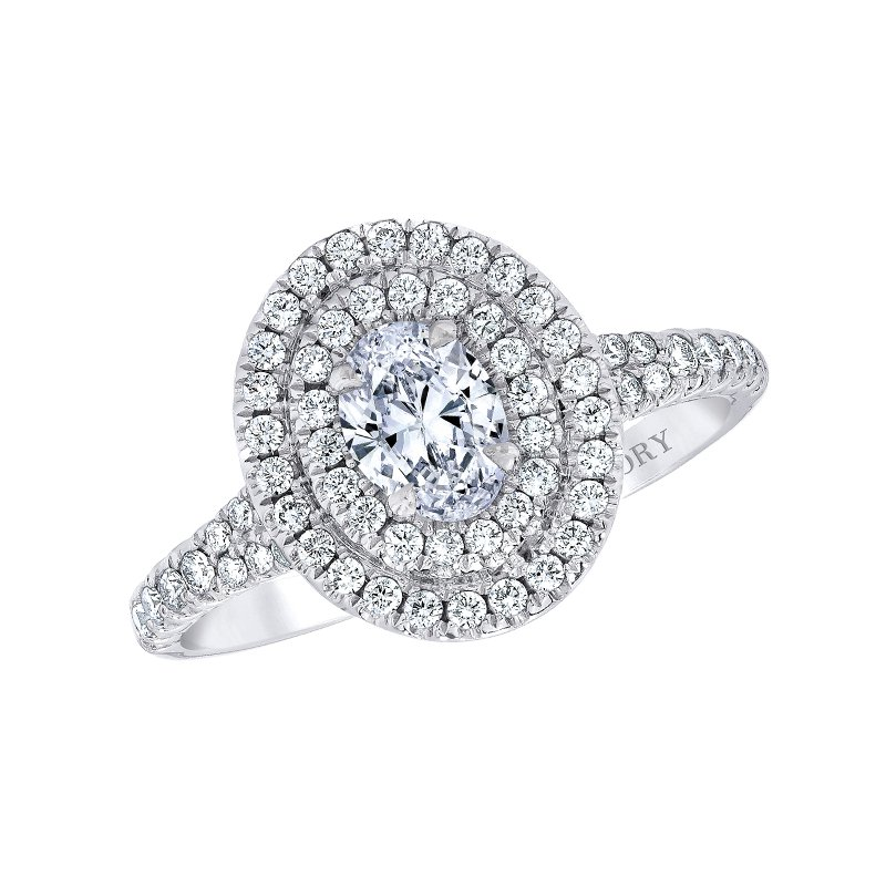 Love Story 14k white gold 1ctw 1/2ct oval diamond halo engagement ring