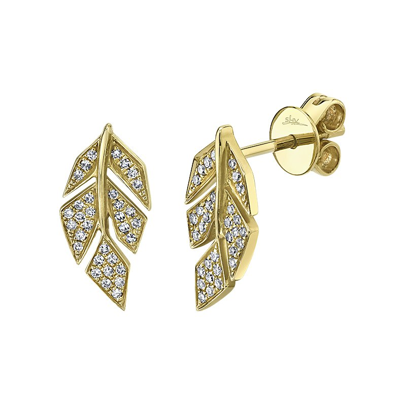 Shy Creation 14K Yellow Gold 0.14ctw Diamond Pave Leaf Stud Earrings