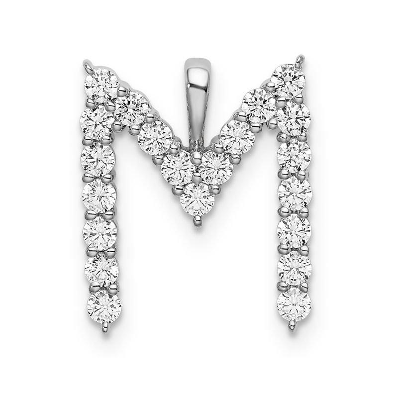 "Greenberg's 14k white gold initial ""M"" pendant"