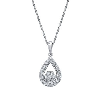sterling silver 1/4ctw teardrop diamond pendant