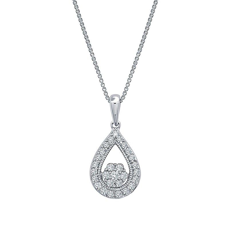 Greenberg's sterling silver 1/4ctw teardrop diamond pendant
