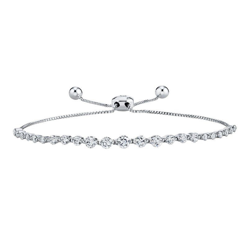 Greenberg's 14k white gold diamond bolo bracelet