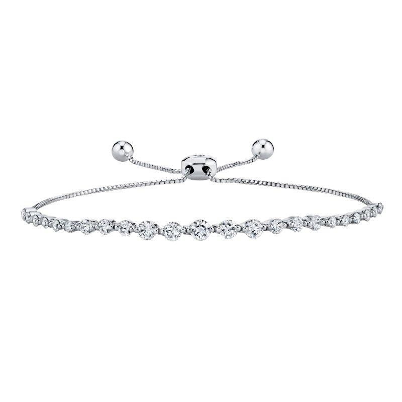 Greenberg's 14k white gold 1.33ctw diamond bolo bracelet