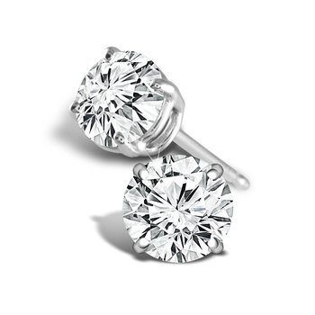 2ct round stud diamond earrings