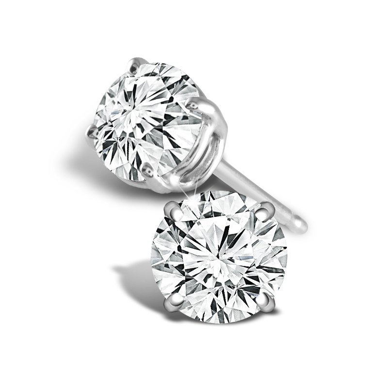 Greenberg's 14k white gold 2ct round stud diamond earrings